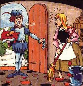 Aschenputtel fegt gerade, als ein Prinz mit einem Schuh auf einem Kissen zur Tür herein kommt.