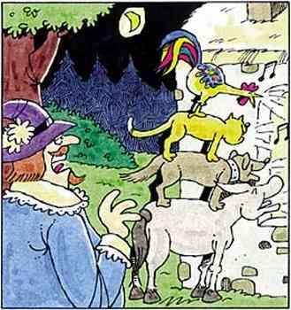 Ein Mann mit Spitzbart und Hut erblickt im Dunkel des zunehmenden Mondes Esel, Hund, Katze und Hahn, die vor einem Haus ihr Lied anstimmen.