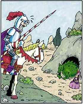 Auf seinem Pferd sitzend sieht der Ritter von einer Anhöhe aus den in seinem Höhleneingang schlafenden Drachen, davor die an einen Pfahl gebundene Prinzessin.