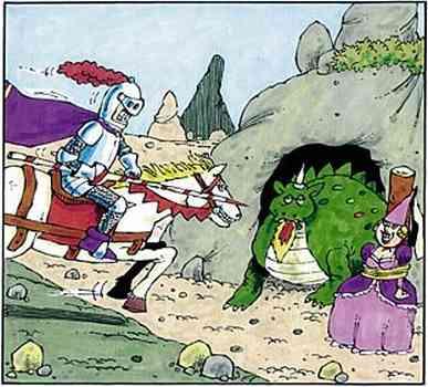 Der Ritter reitet auf den erwachten, feuerspeienden Drachen mit der Lanze zu - zur sichtbaren Freude der Prinzessin.