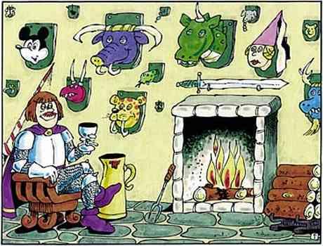 Der Ritter trinkt daheim vor seinem Kamin ein Gläschen Wein; an der Wand sind die Köpfe von verschiedenen tieren als Trophäen angebracht, darunter der von Micky Maus, der des Drachens und der Prinzessin.