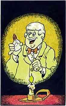 Bei Kerzenschein blickt Edison, einen Schraubenzieher in der linken, freudestrahlend auf eine handelsübliche Glühbirne in seiner linken Hand.