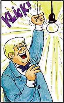Klick! Edison zieht fröhlich am - natürlich ebenfalls vorhandenen - Schalterzug. Es wird hell.