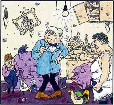 Edison kann nun hell und klar sehen: Die Spüle ist voll mit unge0spültem Geschirr, seine nörgelnde, übergewichtige  Frau  hat eine Bierflasche in der Hand, sein Sohn popelt in der Nase. Auch ein Hahn und ein Schwein sind in der Wohnung, die sich in einem erbärmlichen Zustand befindet.