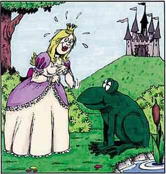 Prinzessin sieht mit Entzücken übergroßen Frosch, im Hintergrund ein Schloß