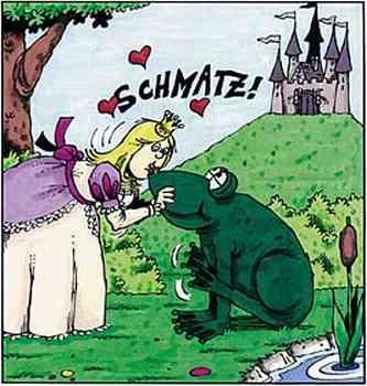 Schmatz! Prinzessin küßt den Riesenfrosch.