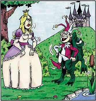 Der Reißverschluß öffnet sich beim Frosch, aus dem Froschkostüm kommt lachend der Hofnarr.