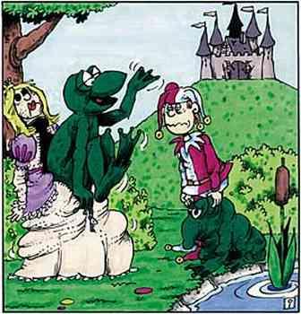 Auch bei der Prinzessin öffnet sich ein Reißverschluß, ein übergroßer Frosch kommt winkend aus dem Prinzessinnenkostüm. Hofnarr schaut blöd aus der Wäsche.