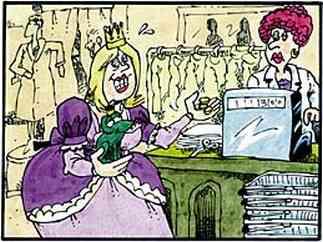 An der Kasse bezahlt die Prinzessin den Frosch.