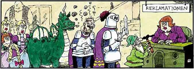 Reklamationen - Zwerg mit kaputter Spitzhacke, Ritter mit zerbrochenem Schwert, schadenfroh grinsender Drachen hinter verbranntem Ritter, Rapunzel mit abgerissenem Haar, Prinzessin mit Frosch, Frankenstein