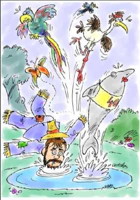 Die Scheuche Ludewich (DeGie): Ludwig Janssen fällt in eine Pfütze und verscheucht einen Ara, einen Storch mit Stirnband und Dolphins Dream / I. Astalos 6'05