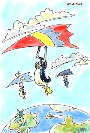 Pinguine nach Süden fliegend, I. Astalos 8/2004