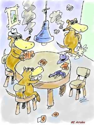 Schnabeltiere spielen Karten, während ihr Artgenosse an die Zimmerwand uriniert  / I. Astalos 9'04