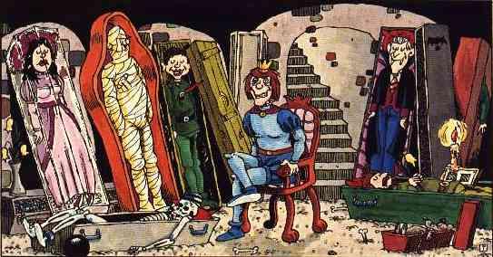 Im Schloßkeller: Schneewittchens Sarg steht bei Kerzenlicht neben geöffneten Sarkrophargen von Alfred.E. Neumann, einer Mumie und Graf Dracula, der Prinz sitzt geifernd auf einem Stuhl.